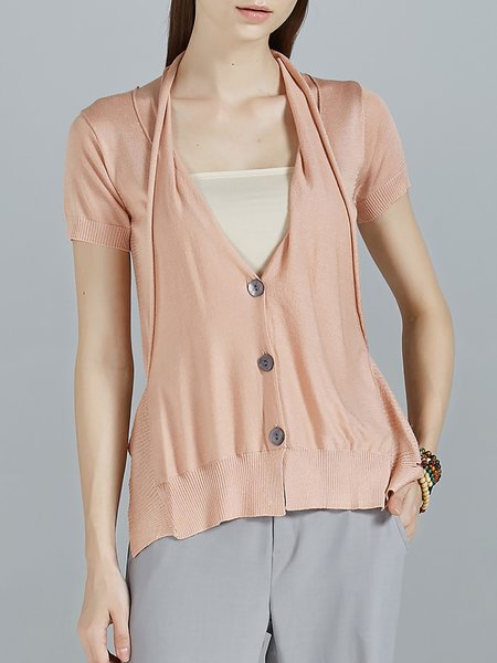 Pink Plain Slit Buttoned Short Sleeve Knitted Cardigan