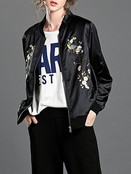 Black H-line Stand Collar Casual Embroidered Bomber Jacket