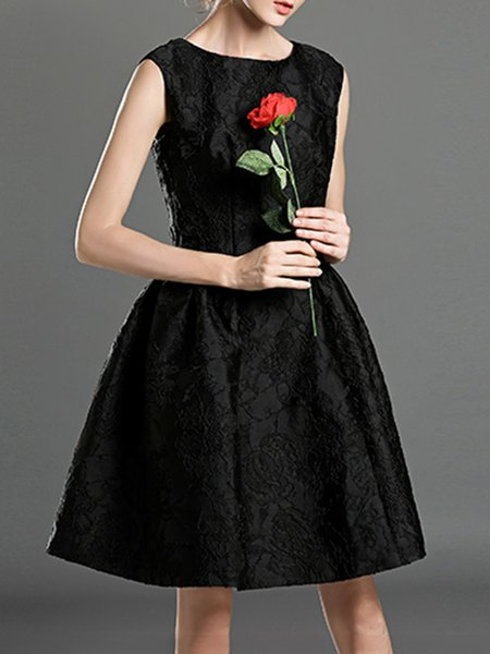 Black Crew Neck Sleeveless Jacquard Cocktail Polyester Mini Dress with Belt