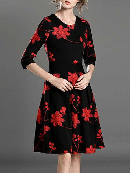 Red Crew Neck A-line 3/4 Sleeve Floral Print Midi Dress