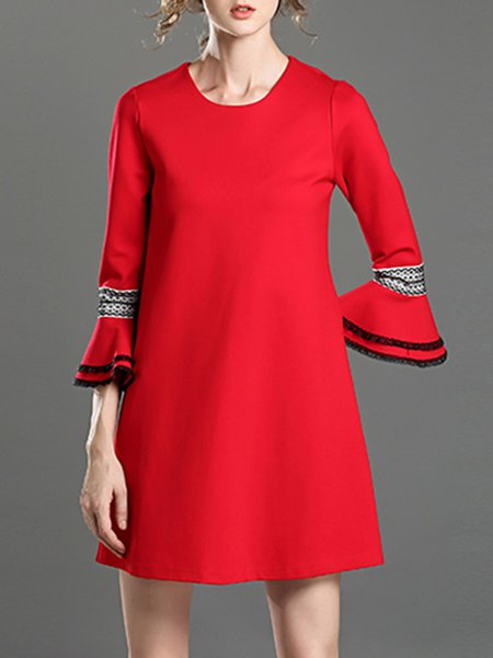Red A-line Simple Cotton-blend Mini Dress
