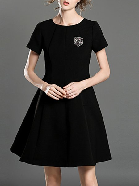 Appliqued Simple Short Sleeve Plain Mini Dress