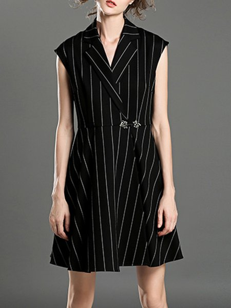 Black Lapel Short Sleeve Stripes Mini Dress