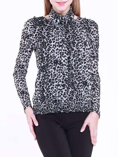 Blue Turtleneck Long Sleeve Leopard Print Shift Blouse