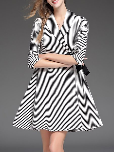 Black Pockets Cotton-blend 3/4 Sleeve Mini Dress