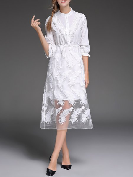 Elegant Embroidered Cotton Stand Collar 3/4 Sleeve Midi Dress