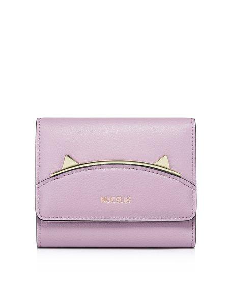 Purple Sweet Mini Cowhide Leather Wallet