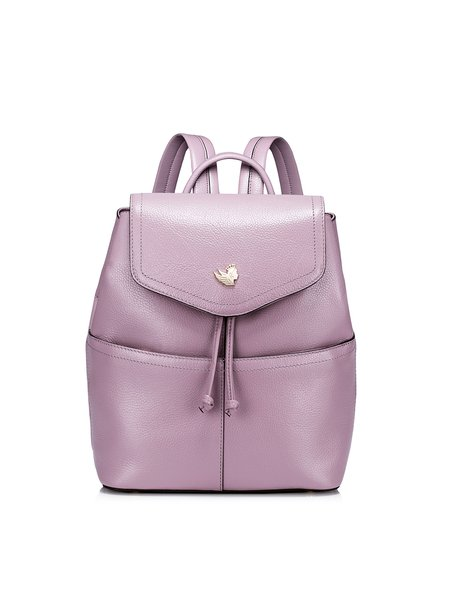 Purple Casual Small Cowhide Leather Backpack