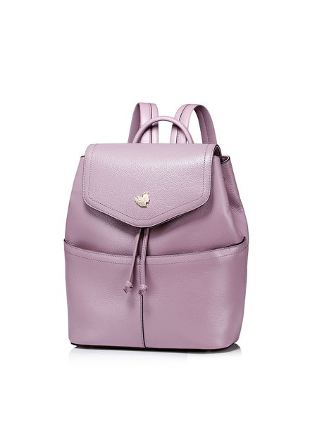Purple Casual Small Cowhide Leather Backpack - StyleWe.com