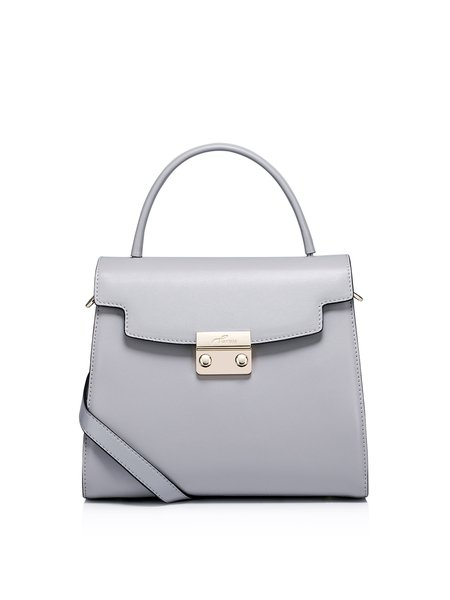 Light Gray Push Lock Cowhide Leather Top Handle
