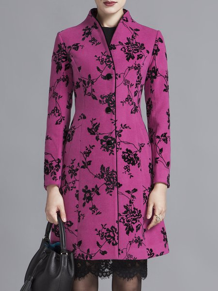 Long Sleeve Vintage Floral H-line Printed Coat