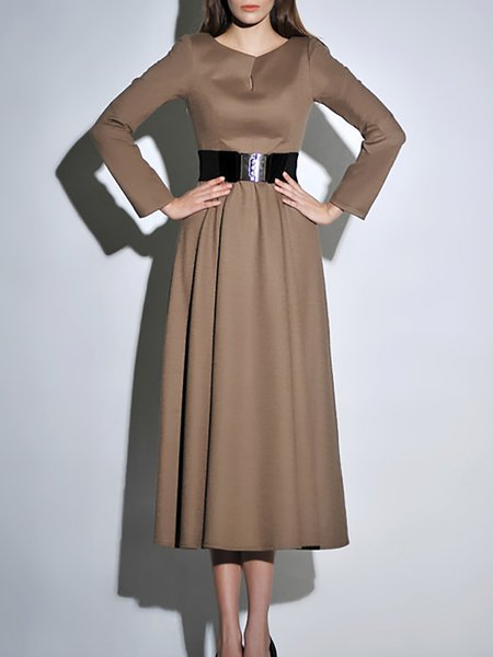 Swing Wool Blend Long Sleeve Elegant Midi Dress