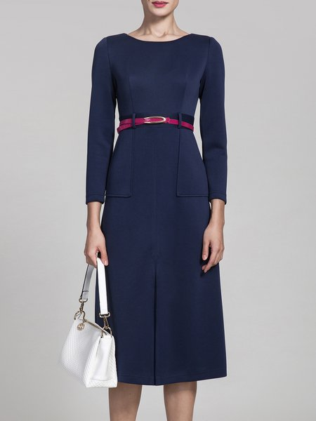 Navy Blue A-line Crew Neck Elegant Silt Plain Midi Dress