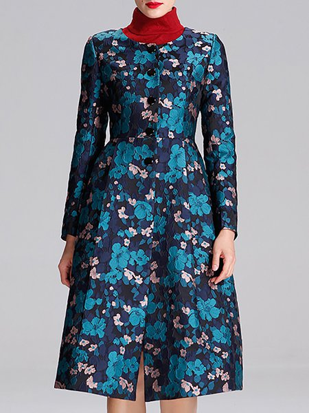 Multicolor Long Sleeve Floral Embroidered Woven Crew Neck Coat