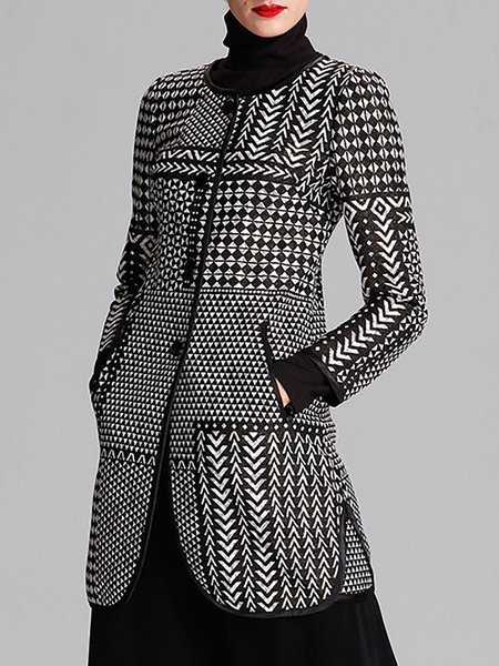 Black Geometric Vintage Lace Printed Coat