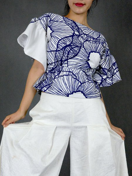 Blue Shirred Abstract Crew Neck Frill Sleeve Cropped Top