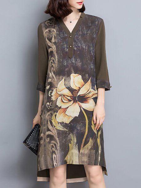 Vintage Printed High Low 3/4 Sleeve Midi Dress