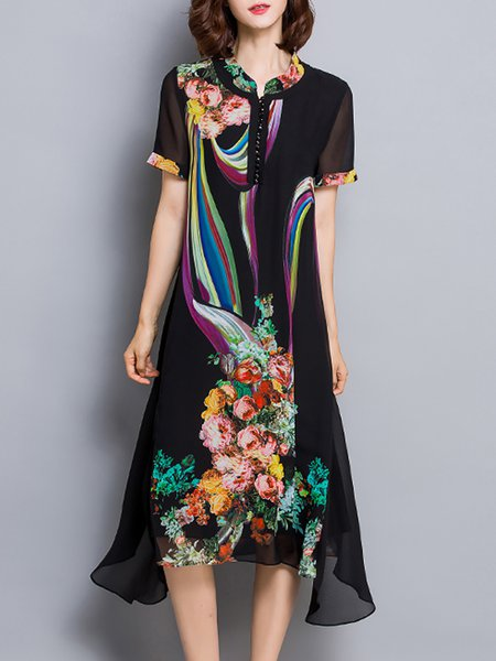Printed Elegant Short Sleeve Floral Midi Dress
