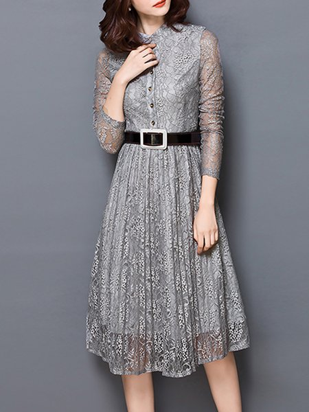 Plain Elegant Pierced Long Sleeve Lace Midi Dress With Belt