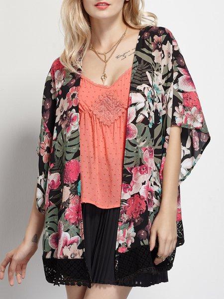 Black Half Sleeve Pierced Chiffon Floral Kimono