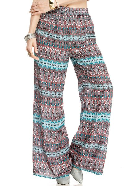 Green Vintage Tribal Printed Chiffon Wide Leg Pants