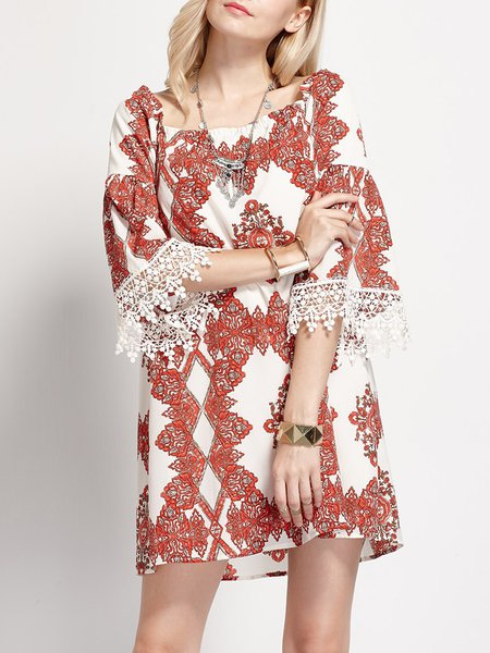 Red Floral Pierced Chiffon Resort Mini Dress