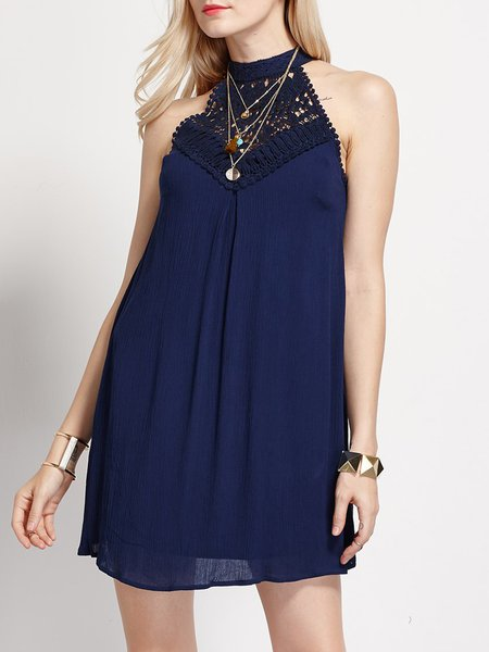 Navy Blue Elegant Halter Crochet Mini Dress