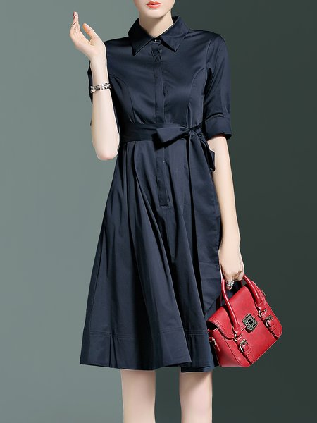 A-line Cotton Simple Plain Half Sleeve Simple Shirt Dress