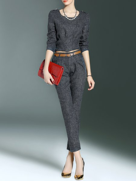 Deep Gray Simple Two Piece Pockets Plain  Jumpsuit