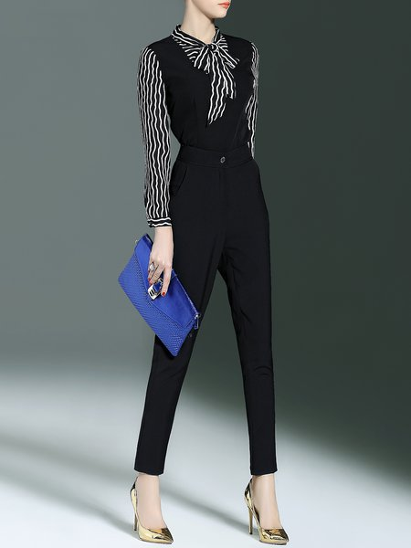 Black Stripes Long Sleeve Two Piece Polyester Jumpsuit