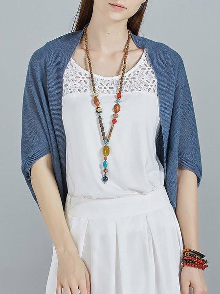 Half Sleeve Casual Knitted Plain Asymmetric Cardigan