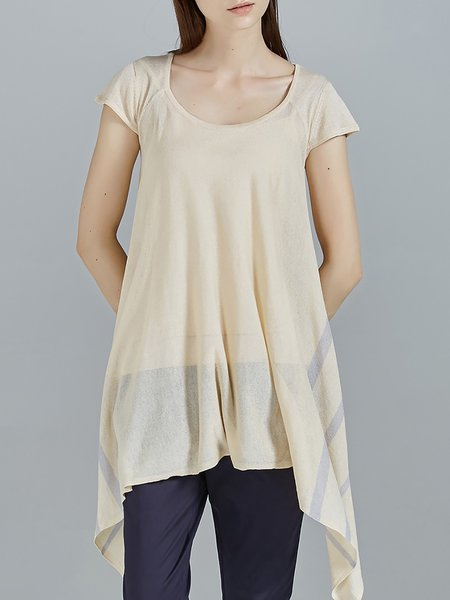 Apricot Knitted Short Sleeve Plain Asymmetric Tunic
