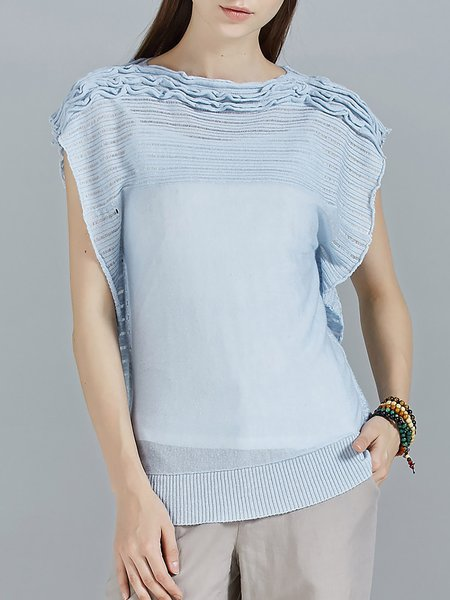 Light Blue Knitted Batwing Gathered Plain Sweater