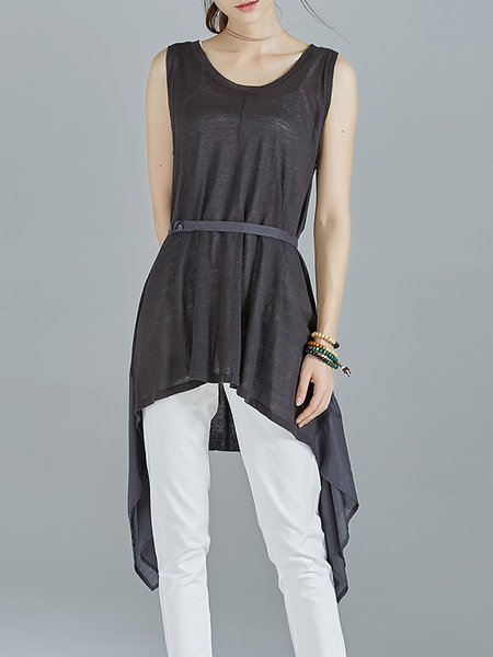 Deep Gray Crew Neck Plain Asymmetric Casual Tunic