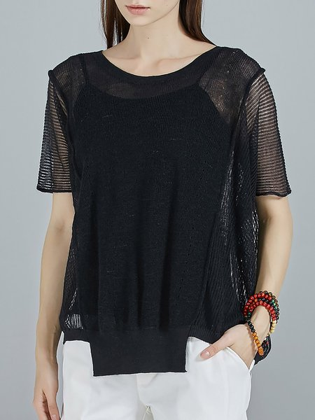 Black Knitted Crew Neck See-through Look Sweater With Camis