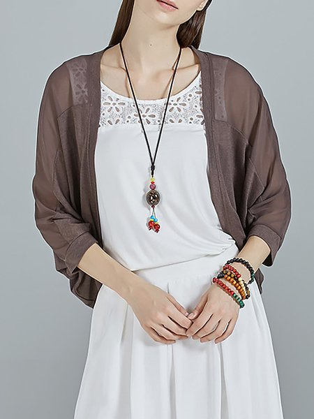 Coffee Batwing Plain Paneled Knitted Cardigan