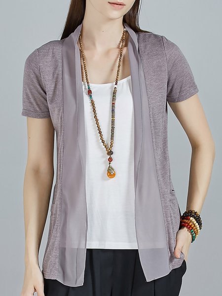 Gray Casual Plain Chiffon Paneled Pockets Cardigan