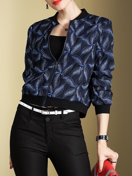 Blue 3/4 Sleeve Feather Print Pockets Cropped Jacket