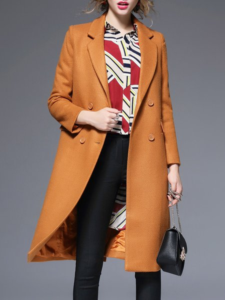 Mustard Plain Lapel Long Sleeve Pockets Coat
