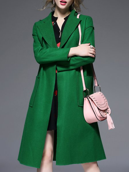 Green Simple Pockets Plain Coat With Belt