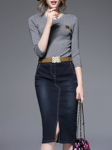 Elegant Knitted Denim Paneled 3/4 Sleeve Midi Dress With Belt