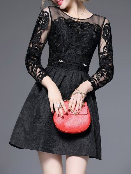 Black A-line Casual Floral Embroidered Mesh Mini Dress