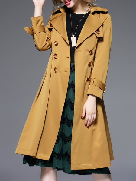 Khaki Buttoned Lapel Casual Long Sleeve Plain Trench Coat With Belt