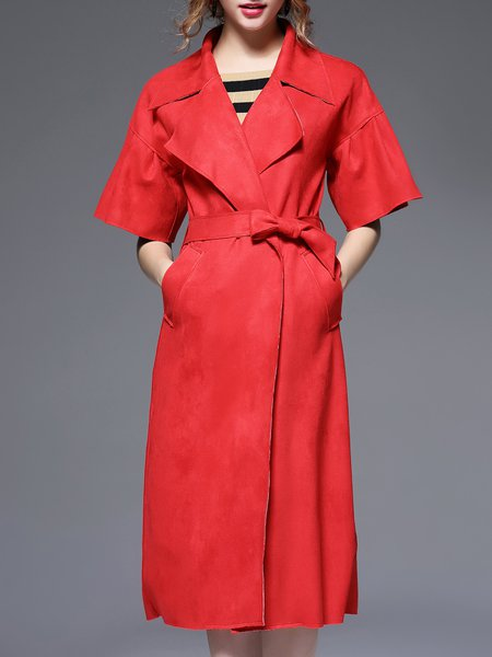 Plain Elegant Half Sleeve Pockets Suede Coat With Belt