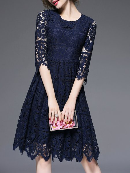 Navy Blue Lace Crew Neck A-line Half Sleeve Pierced Midi Dress