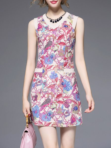 Apricot Printed A-line Elegant V-neck Mini Dress