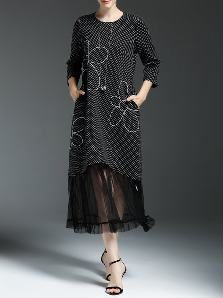 Black 3/4 Sleeve Cotton-blend Floral Midi Dress