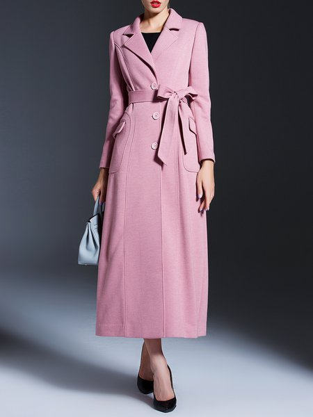 Polyester Long Sleeve Elegant A-line Plain Coat