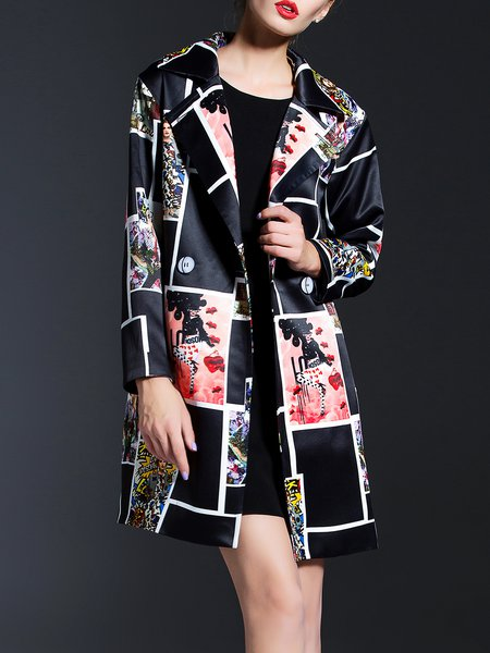 Black Long Sleeve A-line Abstract Coat