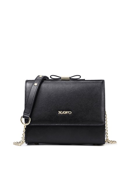Black Casual Zipper Cowhide Leather Crossbody